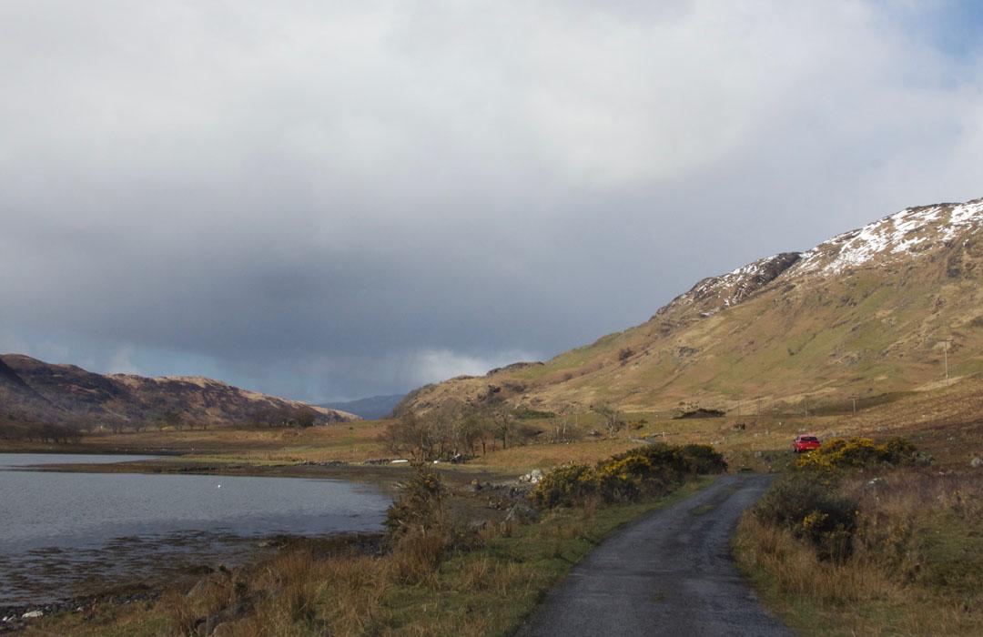 Single Track Road nach Loch Buie Insel Mull Schottland