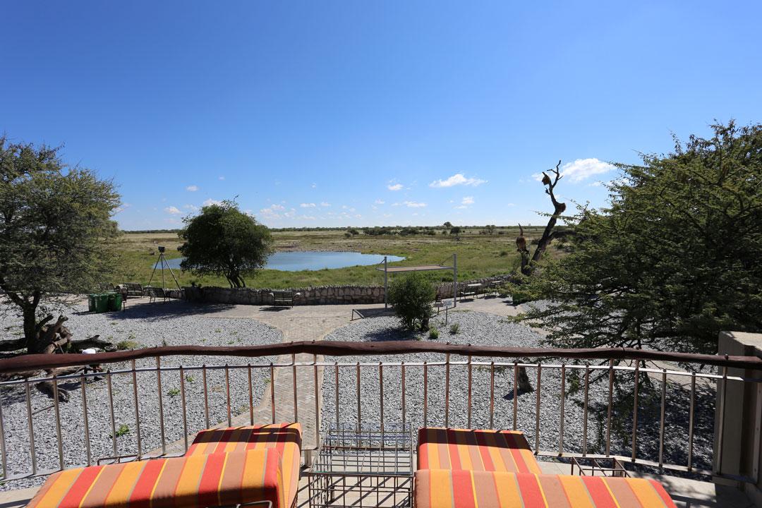 Etosha Nationalpark Okaukuejo Camp Busch Cahlet Wasserloch Namibia