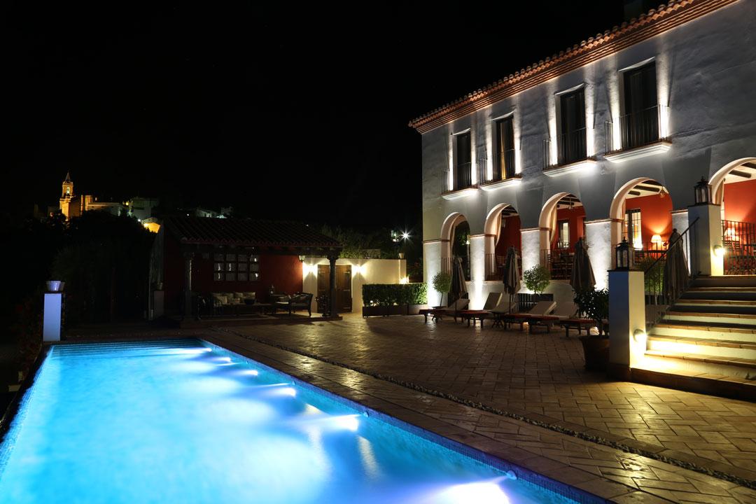 Casa Vesta Nachtaufnahme Zufre Andalusien Spanien