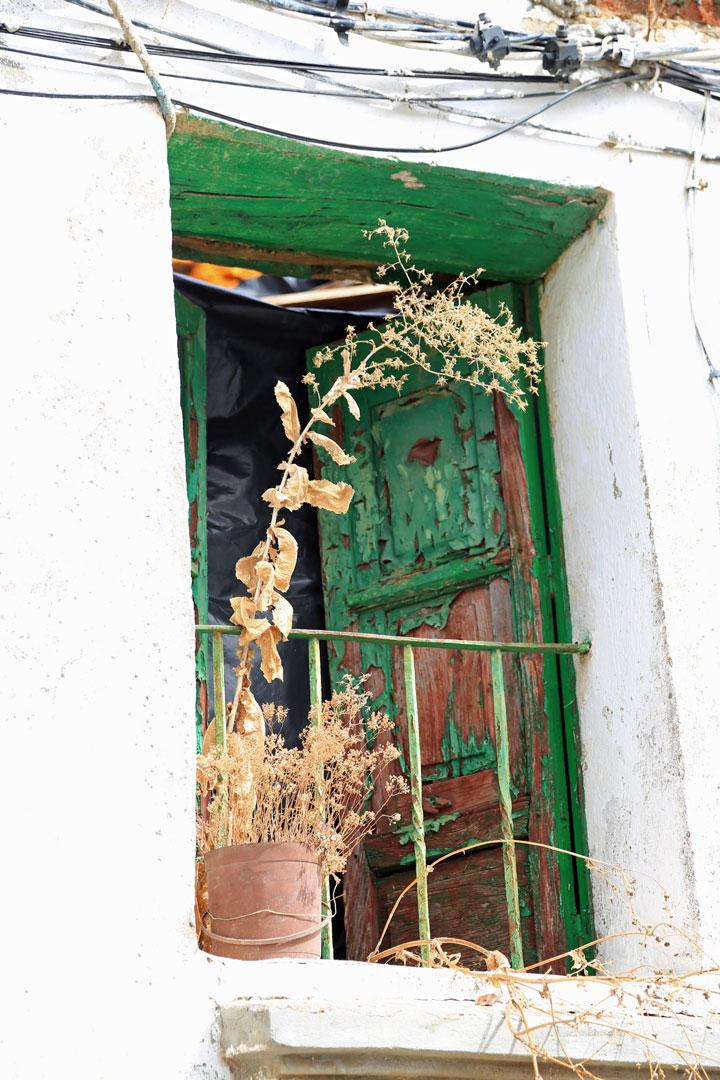 Grünes Fenster Aracena Andalusien Spanien