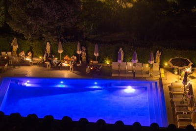 Villa Cora Pool at night