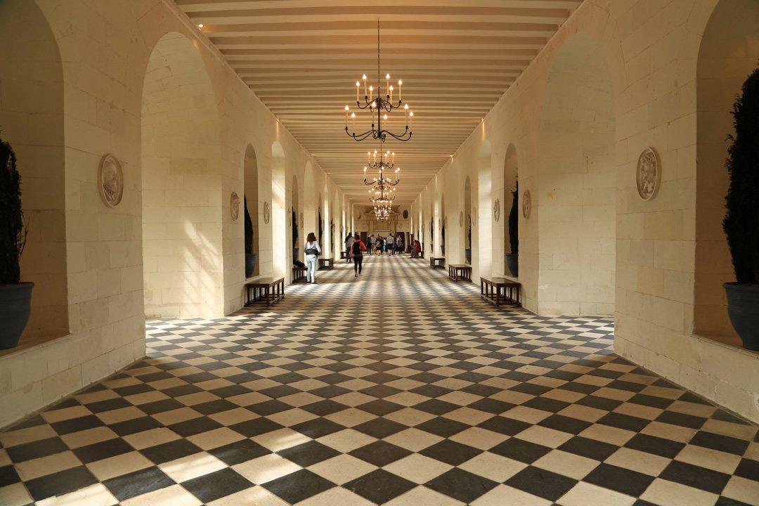 Château Chenonceau lange Halle über der Cher